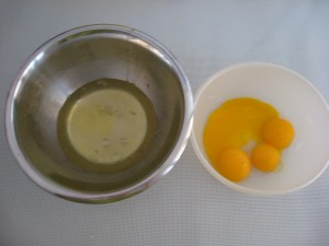 Italian recipe - Caprese Step 2 Add eggyolks one at a time