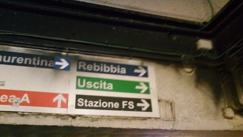 Signs in Termini Station, Rome, Italy