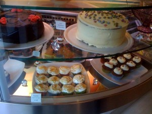 Variety of Cakes in an American style bakery in Rome