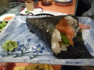 Salmon Hand Roll, Sushisen, Rome, Italy