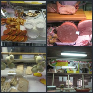 Lazio region - Various cheeses in a store