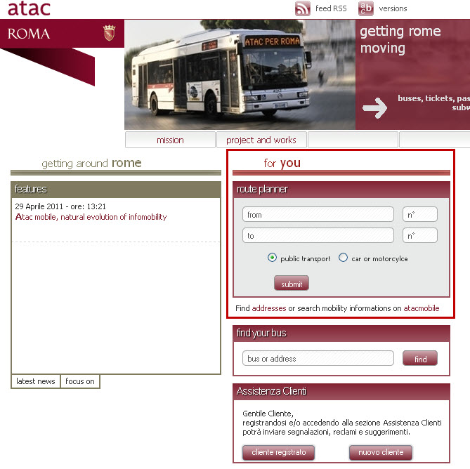 Public Transport in Rome - ATAC Website in English