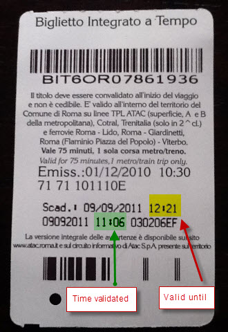Public Transport in Rome - Validate Tickets - BIT