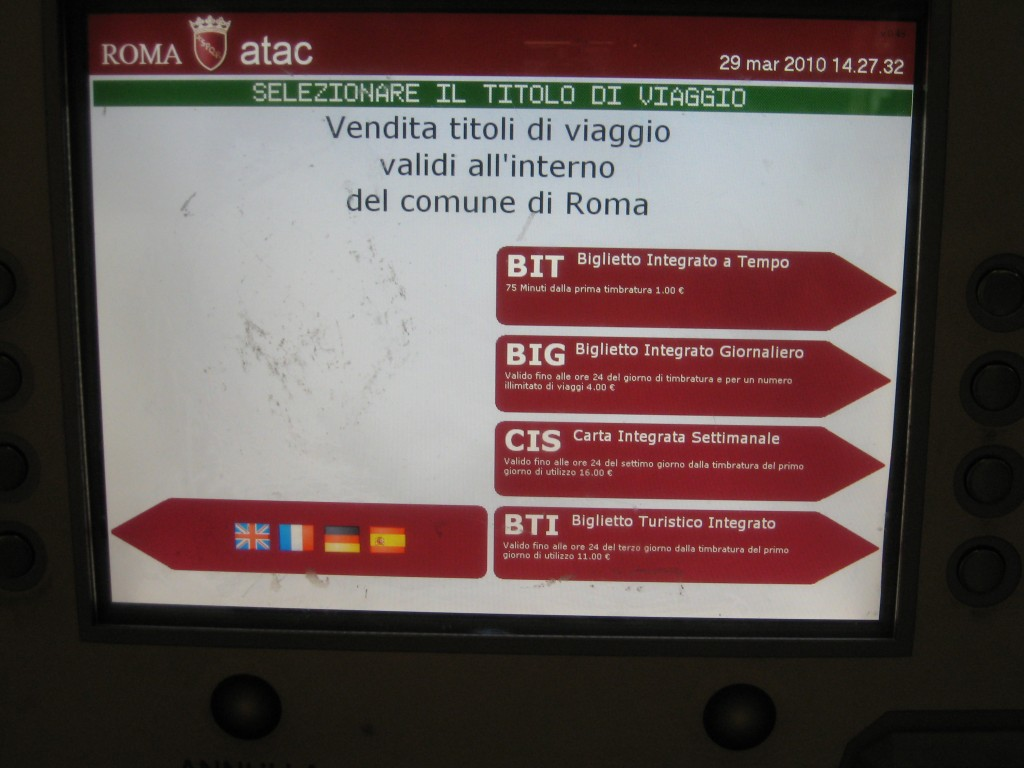 Public Transport in Rome - Purchase Tickets from Machines - Language Selection
