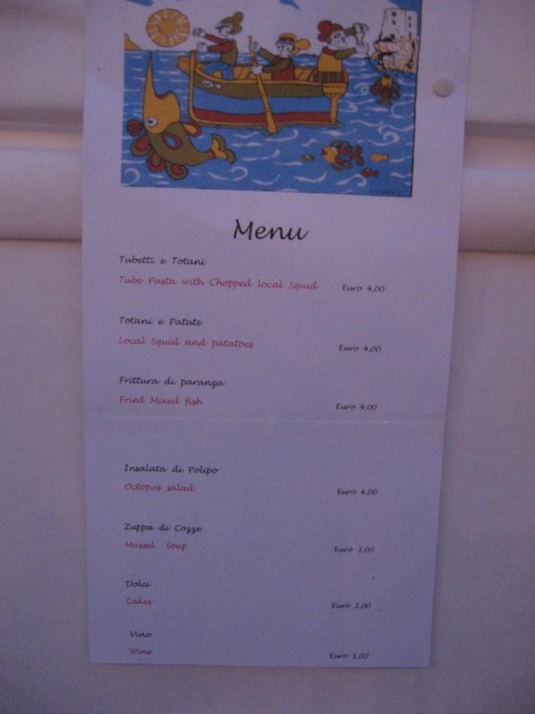 Festa del Pesce in Positano: Menu