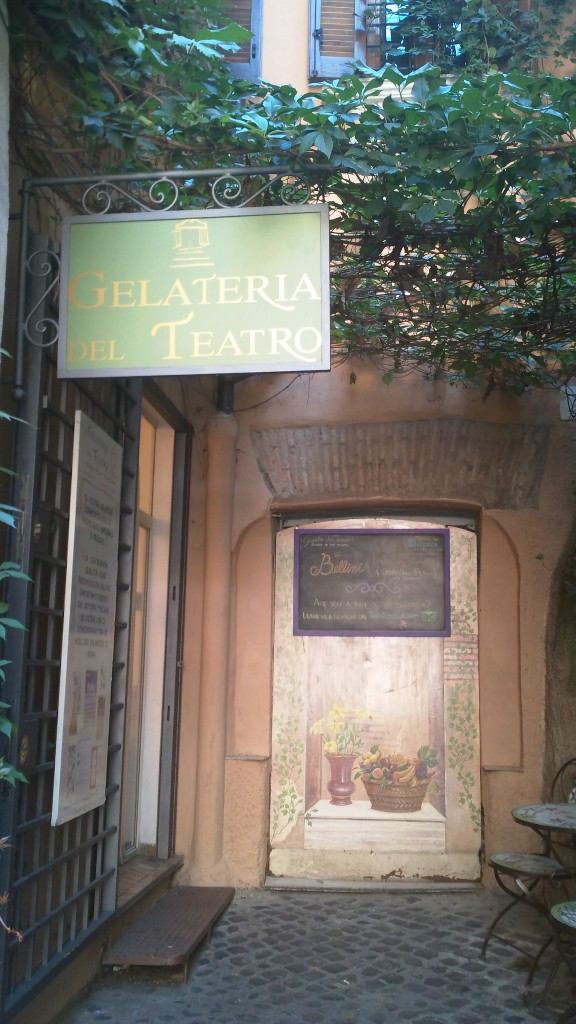Gelato in Rome: Outside Gelateria del Teatro