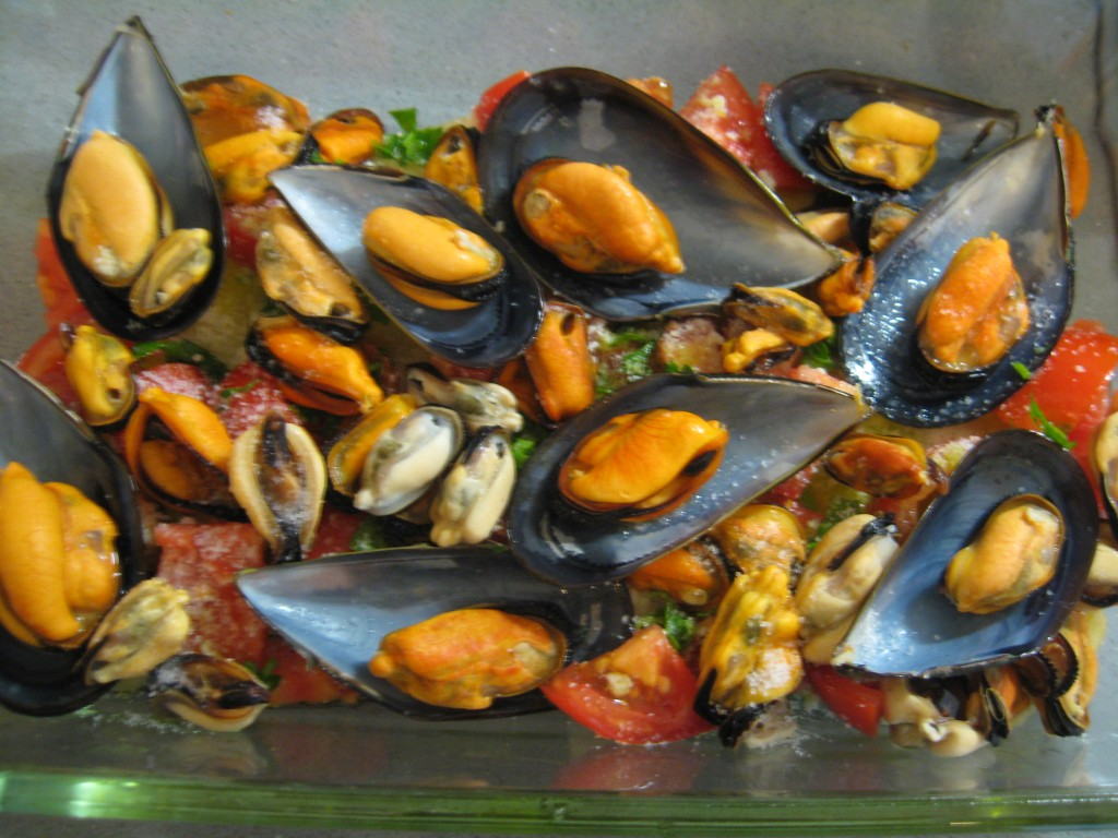 Seafood recipe: Potato, rice and mussels - Step 5