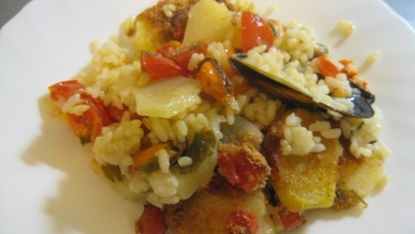 Seafood Recipe: Potato, Rice and Mussels