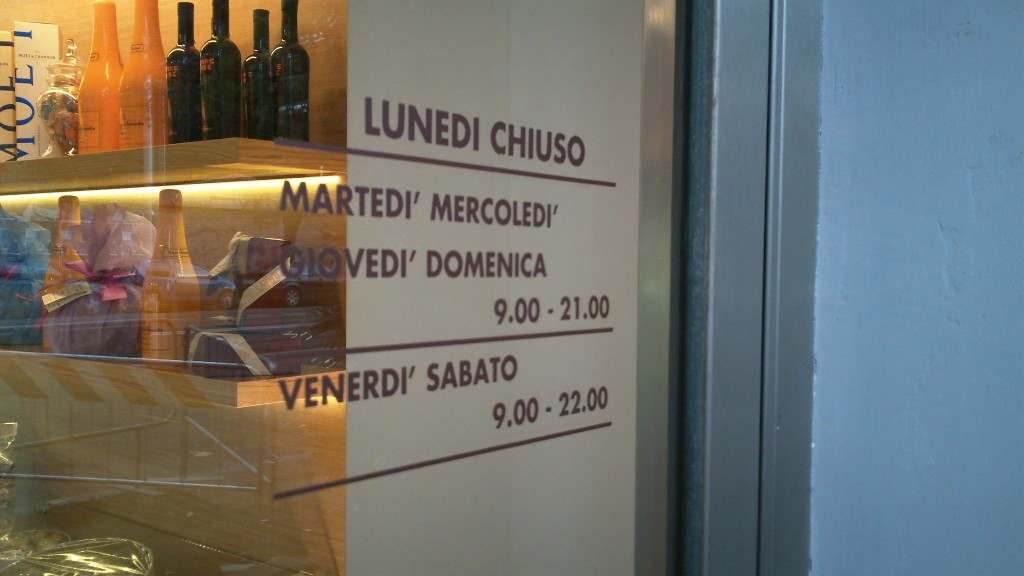 Bakery in Rome: Sicilia e duci - Opening hours