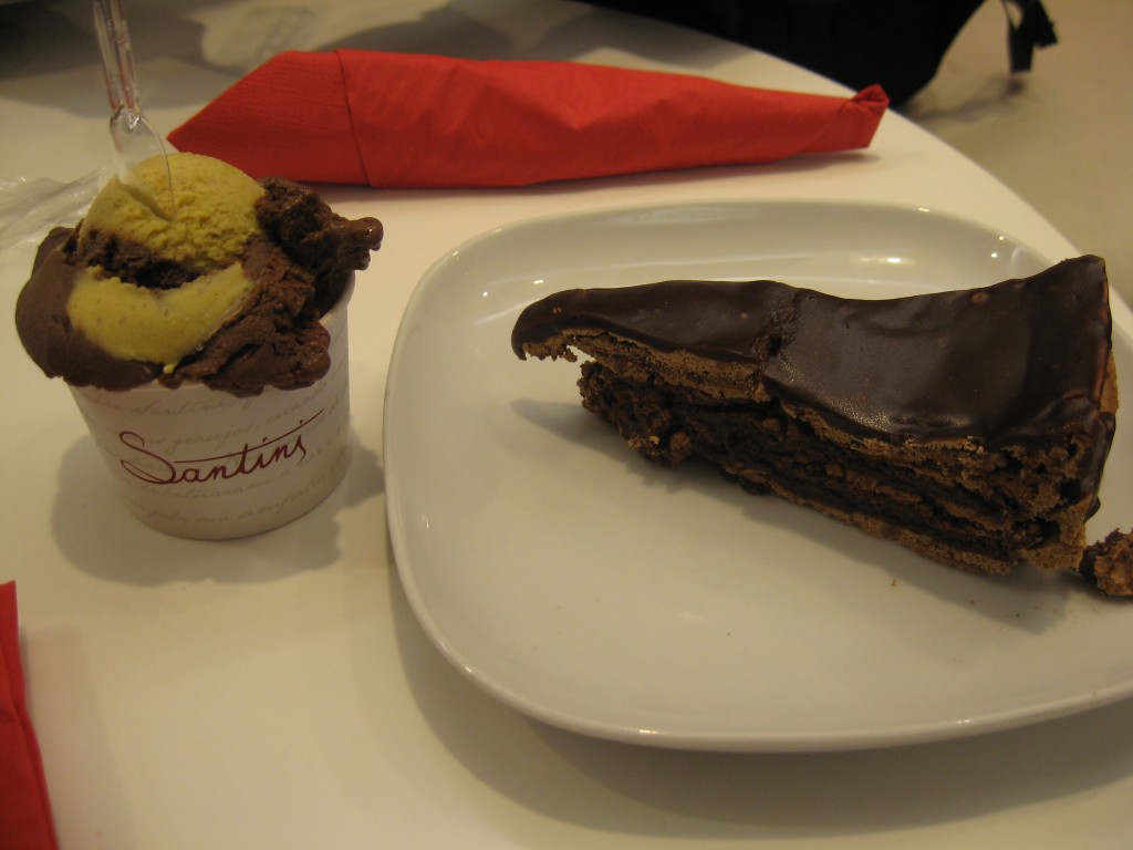Things to do in Lisbon: Gelato and Chocolate Cake