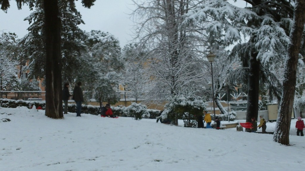 Snow in Rome 2012: Sledging
