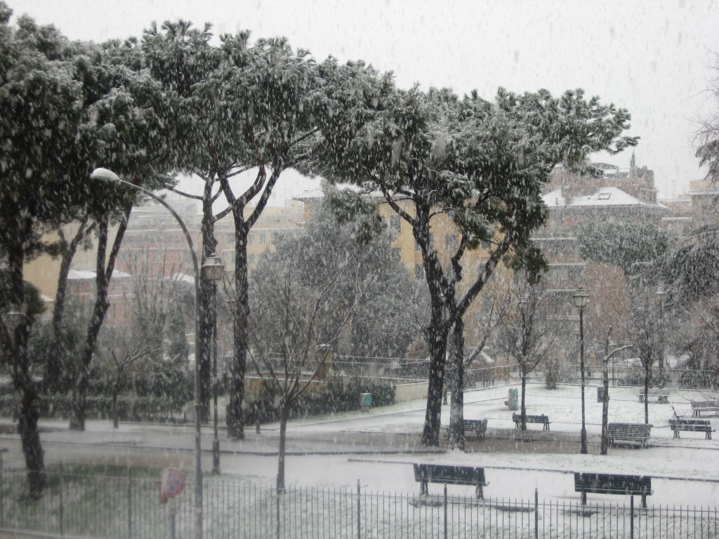 Snow in Rome 2012: View of Park