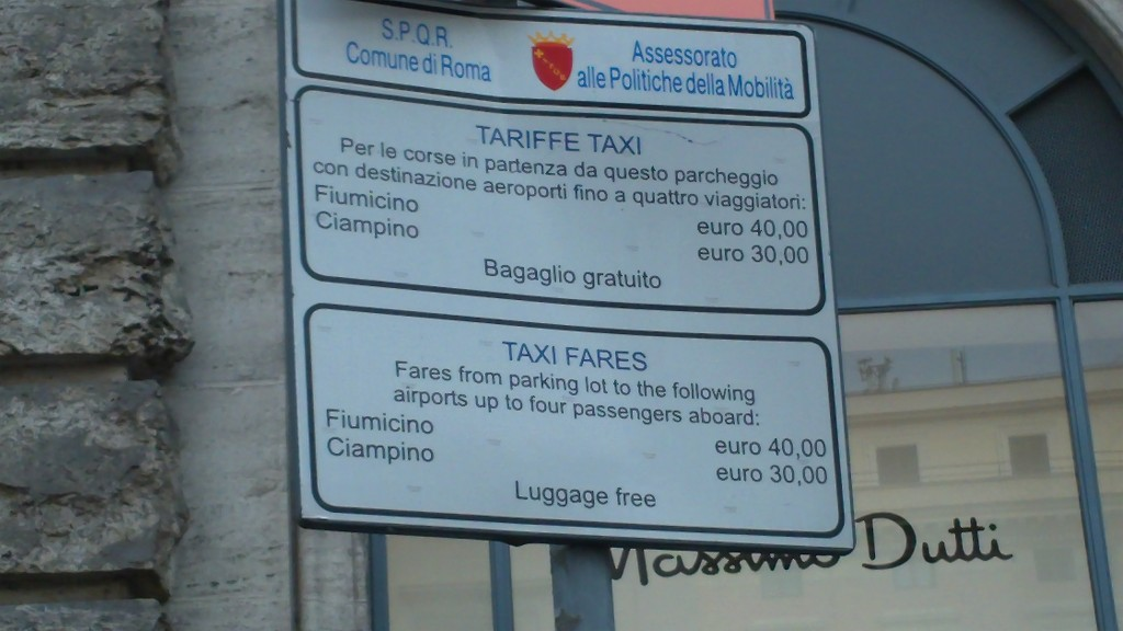 Taxis in Rome: Fares from Airport