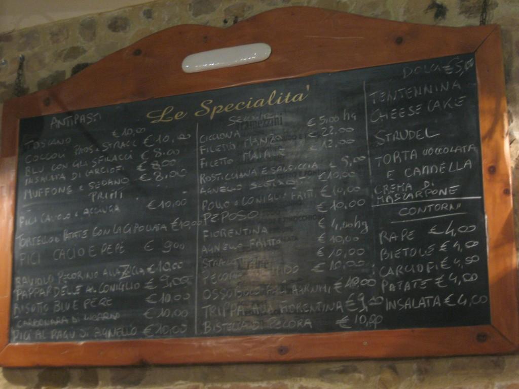 Tuscan Food: Menu