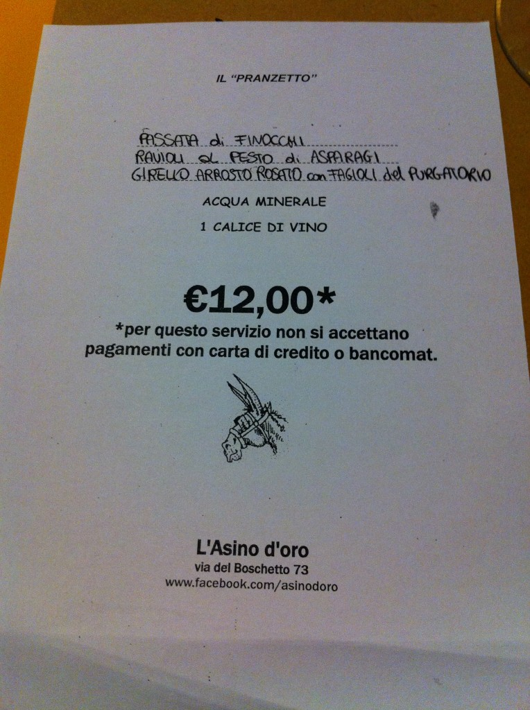 L'Asino D'Oro - Menu on first visit