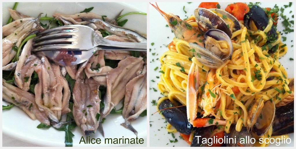 Lunch at Porto Corallo: Alici Marinate and Tagliolini allo scoglio