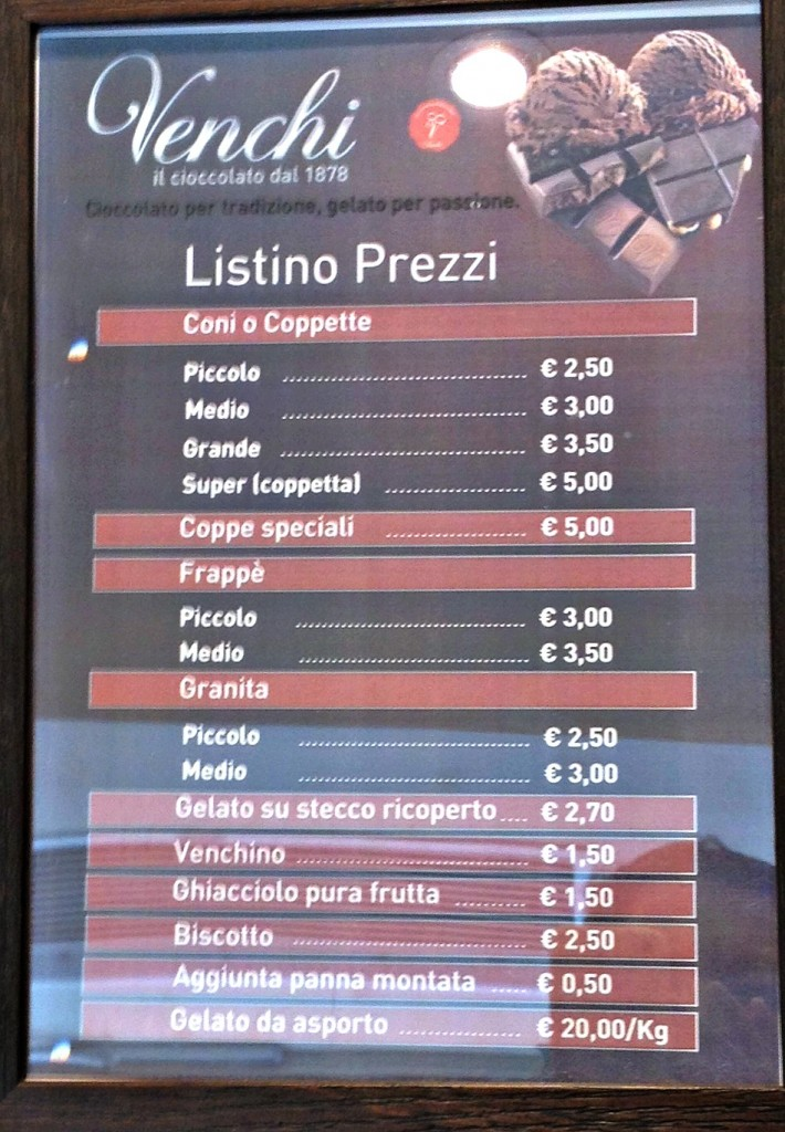 Gelato Shop in Rome - Venchi - Price List