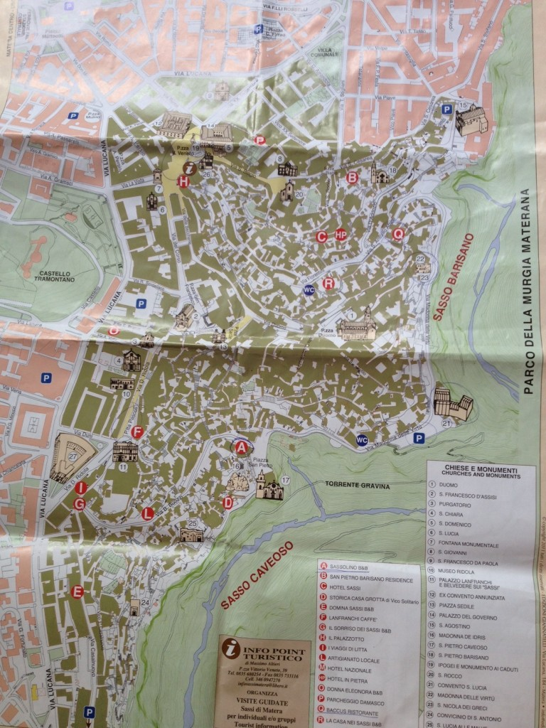 Matera, Italy - Map of the Sassi