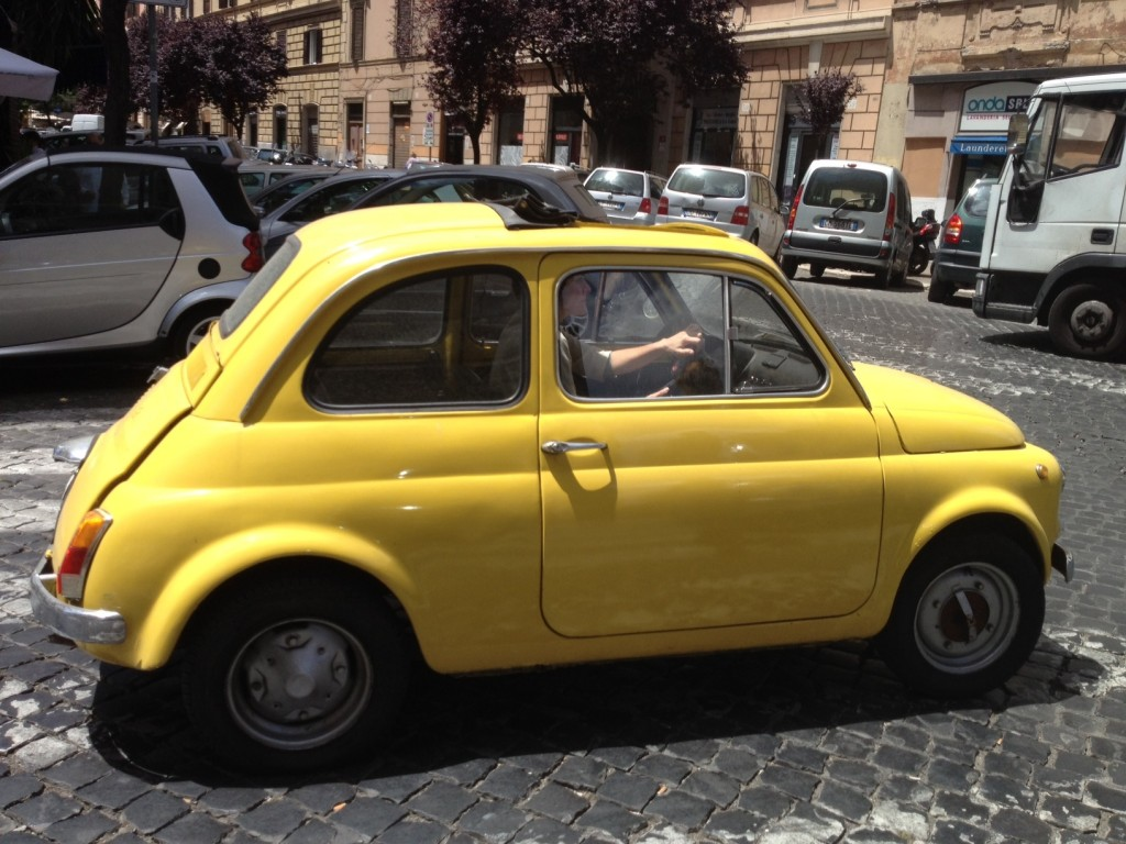 Yellow Vintage Fiat 500 - Driving past me