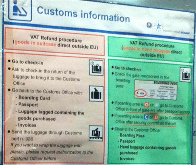 Shopping in Rome: Tax Refunds - Customs Instructions