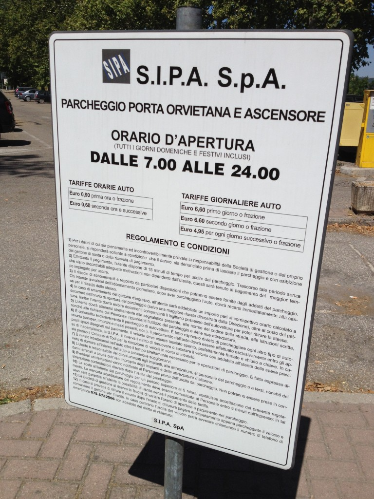 Parking Fees in Todi, Italy