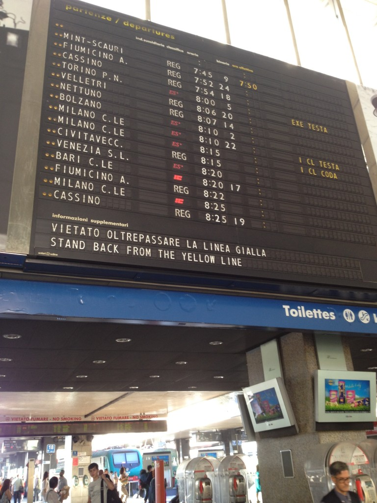 Train from Rome to Florence: Termini Information Board