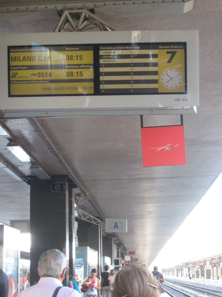 Train from Rome to Florence - Board at Platform