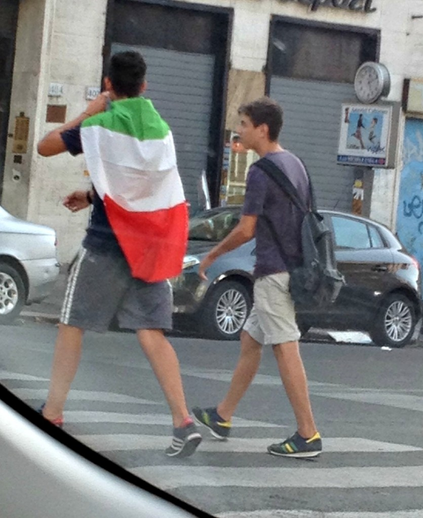 Football in Italy - Wearing Italian Flag