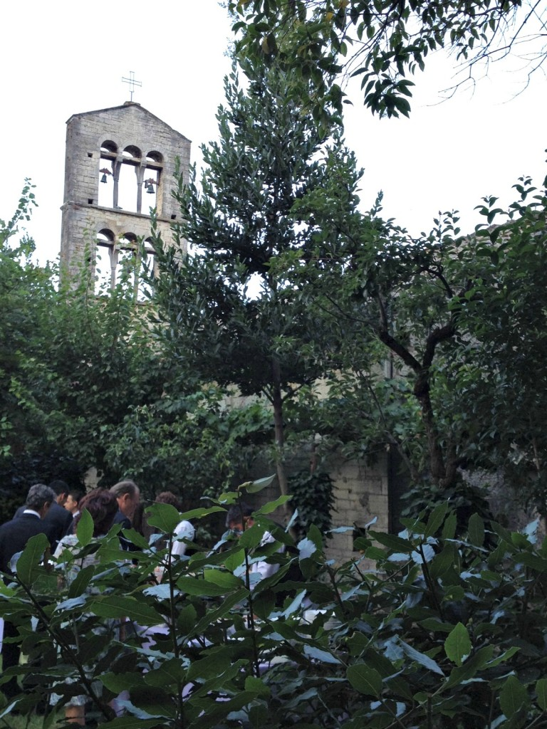 Garden of Palazzo Pongelli with view of Chiesa Sant'Ilario - Todi, Italy
