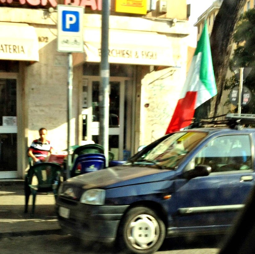 Football in Italy - Euro 2012- Car with Italian Flag