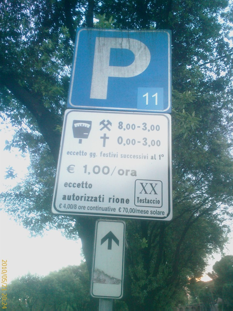 Getting to Rome - Parking Sign