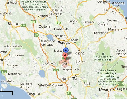 Map of Todi, Italy