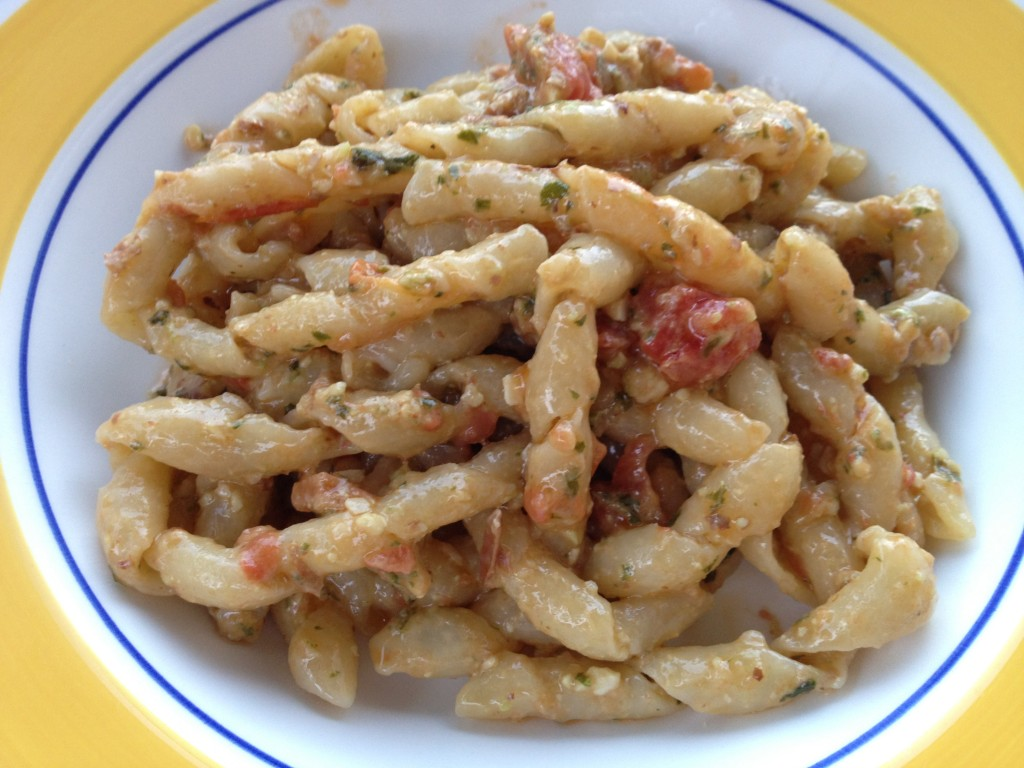 Sicilian Food - Busiate with Pesto alla Trapanese