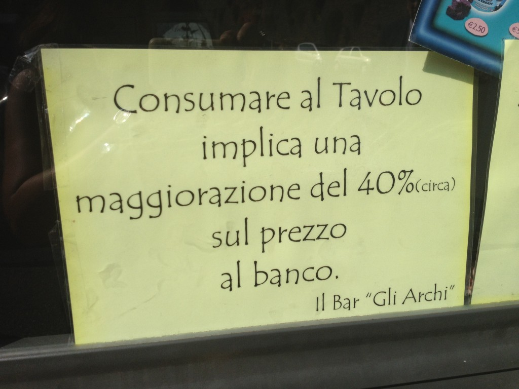 Bar in Rome - Two different prices