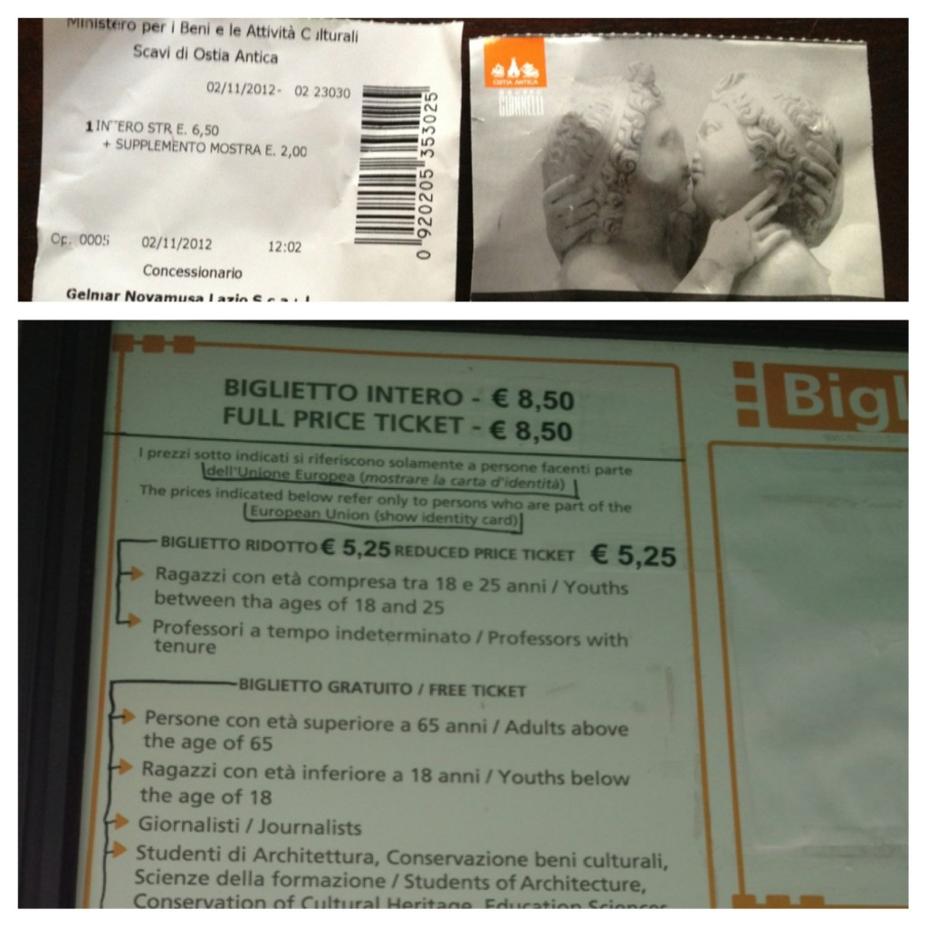 Ostia Antica - Cost of Ticket