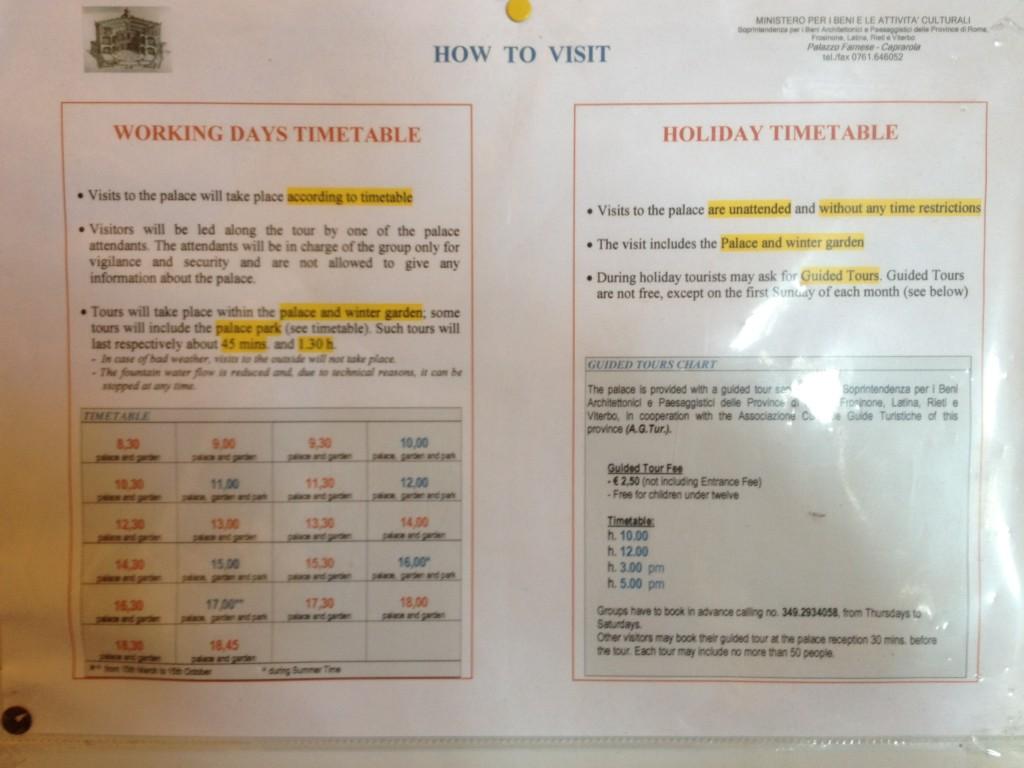 Hidden gems in Lazio - Palazzo Farnese Caprarola - Schedule