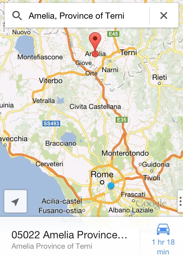 Map of Amelia, Umbria in the Province of Terni
