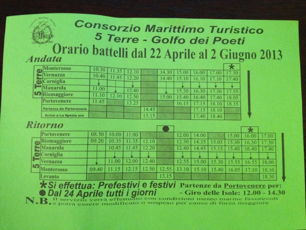 Ferry Schedule, Cinque Terre, Italy