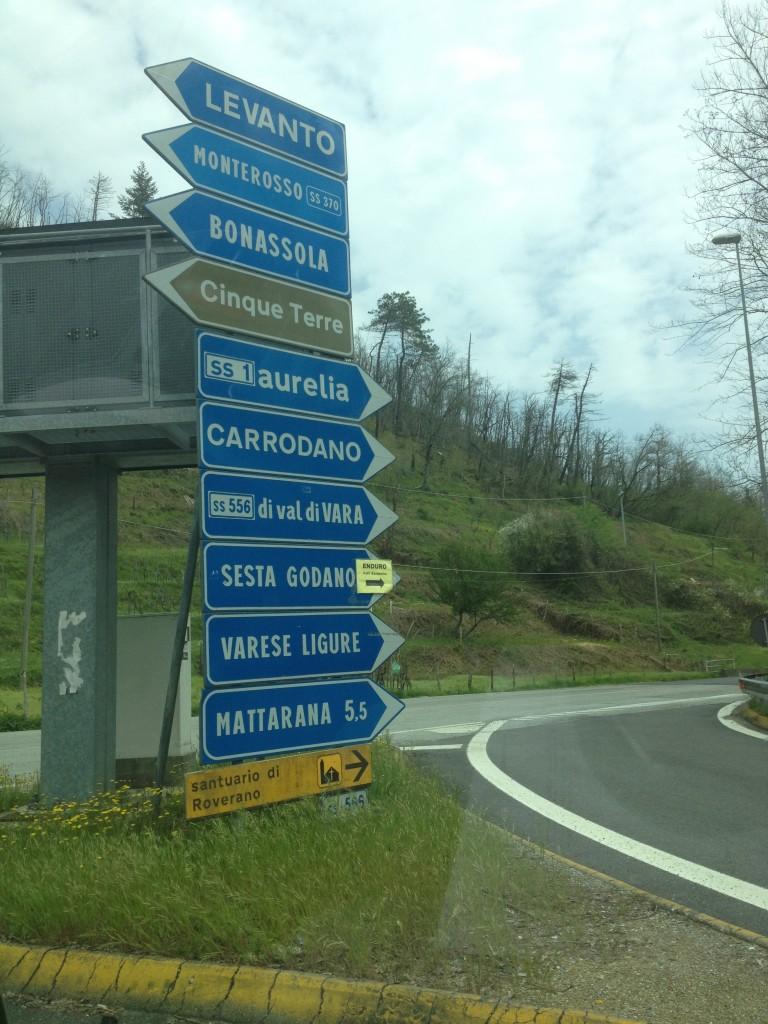 Signs to Cinque Terre, Italy