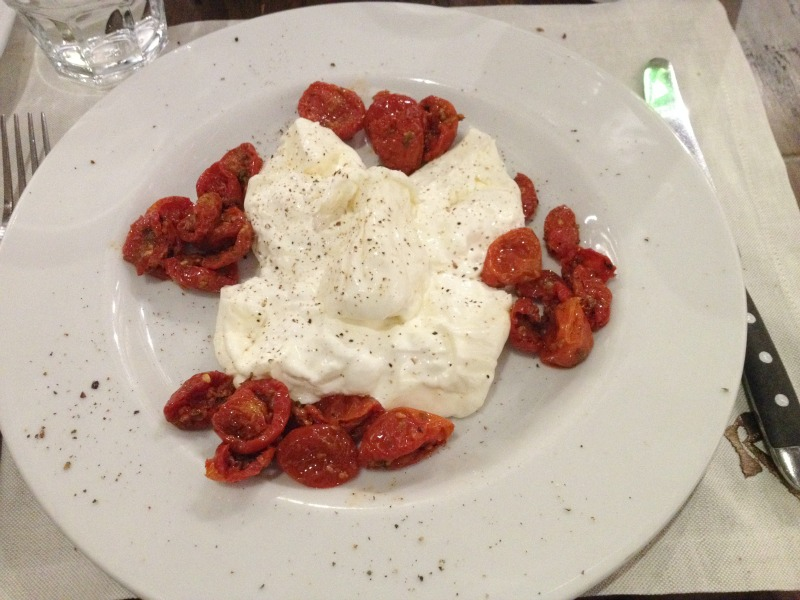 Places to eat in Rome: Divine burrata pugliese con pomodorini at Roscioli restaurant near Campo de' Fiori | BrowsingRome
