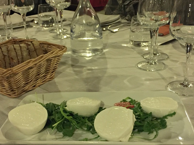 Guided Wine Pairing Dinner in Rome: Buffalo mozzarella appetizer | BrowsingRome.com